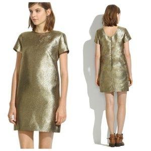 Madewell Gold Metallic Shimmer Shift Dress